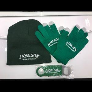 Jameson Irish whiskey beanie gloves bottle opener